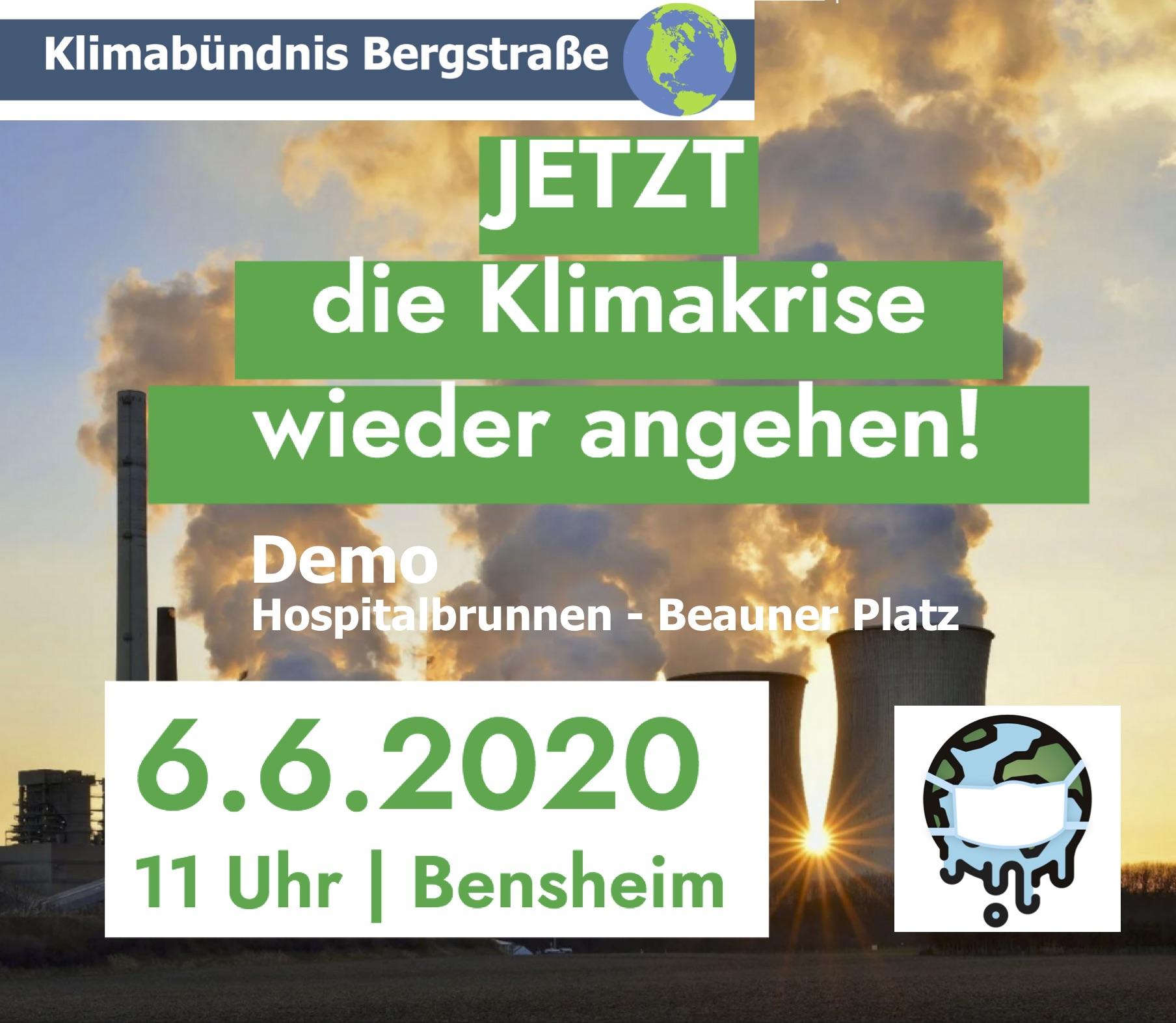 Plakat für Demo in Bensheim am 6.6.20